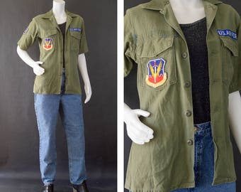 Vintage US Air Force Shirt, Olive Drab Utility Shirt, 60s Military Fatigue Short Sleeve Shirt, Korean Vietnam Shirt, Tactical Air Command