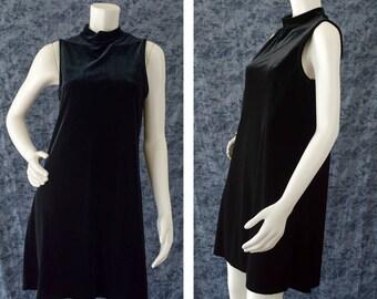 Black Velvet Dress, 90s Black Goth Sleeveless Dress, Little Black Dress, Black Witchy Dress, Mock Turtleneck Dress, Women's Size Medium