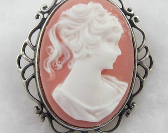 Sterling Silver Signed Jezlaine Faux Cameo Brooch Pin