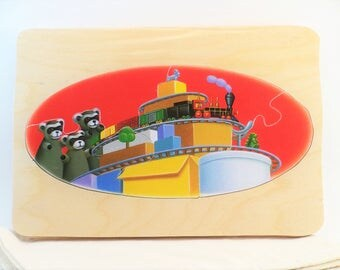 Chugga Chugga Choo Choo Puzzle - Upcycled Book Art Puzzle - Recycled Children's Book Puzzle - Wood Tray Puzzle