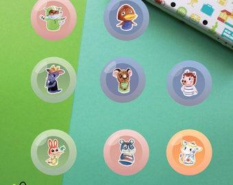 Villagers #4 Buttons   Animal Crossing New Leaf   Big Top Bill Kidd Melba Peggy Bunnie Rodney Tia