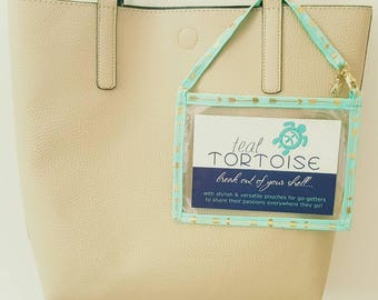 """Postcard Holder Horizontal- 4""""hx6""""w - Custom Postcard Holder - Clear Card Pouch with Strap"""