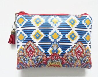 Ethnic Ikat waterproof pouch, womens gift idea, wipe clean wallet, waterproof purse.