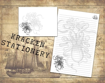 Kraken Stationery Set with envelopes, Black and White Retro Design