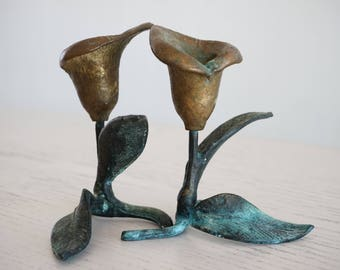 Vintage Brass + bronze  PAIR lily candle holders