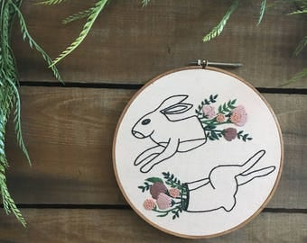 Hand Embroidered Sliced Rabbits and Florals Wall Art // modern embroidery // flowers // florals // blush pink // contemporary // macabre