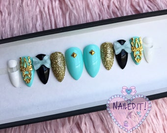 NAILED IT! Hand Painted False Nails - Turquoise & Gold Glitter Bow