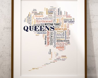 Queens Map Art, Queens Art Print, Queens Neighborhood Map, Queens Typography Art, Queens Poster Print, Queens Word Cloud