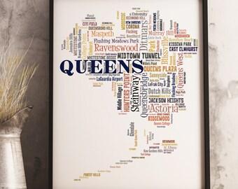Queens Map Art, Queens Art Print, Queens Neighborhood Map, Queens Typography Art, Queens Poster Print, Queens Word Cloud