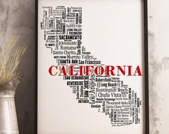 California Map Art, California Art Print, California City Map, California Typography Art, California Wall Decor, California Moving Gift