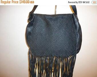 The SALE Is On SALE Beautiful Black Leather Fringe Shoulder/Crossbody Bag