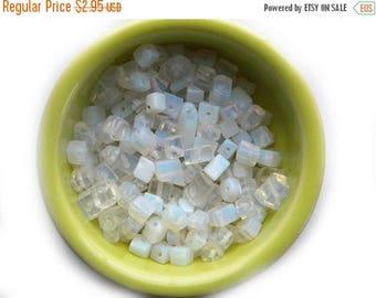 HALF PRICE 20 Opal Effect Fibre Optic Opalite Cube Crystal Beads