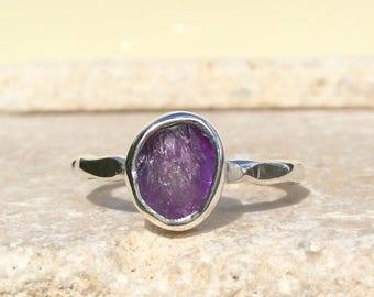Raw Stone Ring, US 8.5, Amethyst Ring, Rough Gemstone Ring, Natural Gemstone Silver Ring, February Birthstone Ring