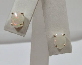 Natural Opal Stud Earrings Solid 14kt Yellow Gold