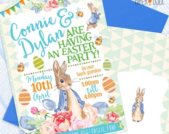 5 X Personalised PETER RABBIT Easter Egg Hunt Bunny Birthday Party Invitation Invites Flower Garden Stationary