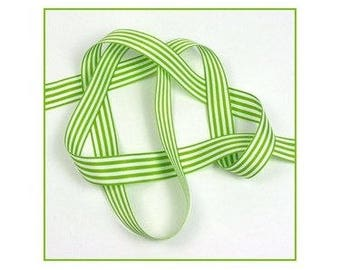 Ribbon stripes green 16 mm the meter polyester