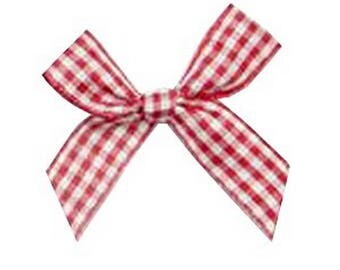 4 4 cm Plaid red and white gingham bows