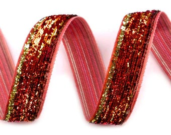 Lurex 13 mm red velvet Ribbon
