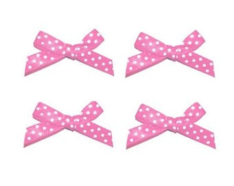 4 pink polka dot bows white 2 cm