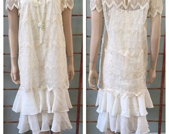Gorgeous 80's does Flapper style 20's off-white lace 2 piece dress / size 6