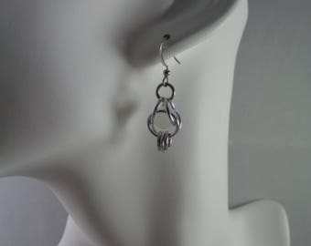 White Captured Bead Chainmail Earrings, Chain Maille Earrings, Chain Mail Earrings, Chainmaille Earrings