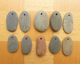 Top Drilled Pebbles - Drilled Rocks - Rock Pendants - Pebble Pendants - Stone Pendants - Beach Stone Pendants - 3mm Hole - Rustic Pendants
