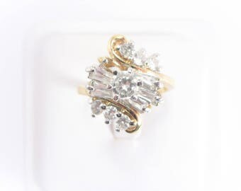 Vintage Clear Rhinestone Cluster Fashion Ring Size 9