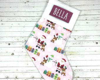Personalised christmas stocking with embroidered name, baby pink santa design, handmade