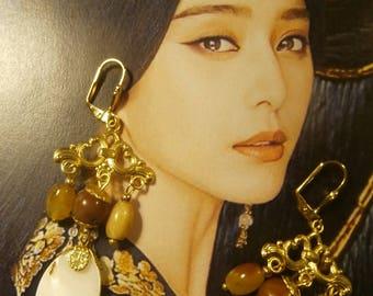 Earrings sleepers chandeliers, Bohemian chic, Pearl, Carnelian, OOAK