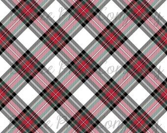 White, red, green and black Stewart plaid craft vinyl sheet - HTV or Adhesive Vinyl -  Christmas dress tartan HTV1861