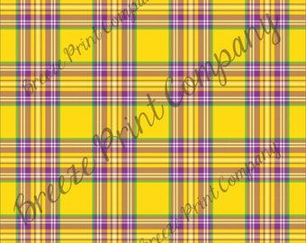Craft pattern HTV yellow, purple, green and white plaid craft vinyl printed sheet - HTV or Adhesive Vinyl -  Mardi Gras HTV3412