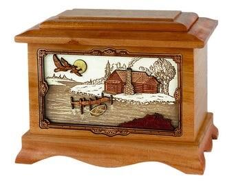 Mahogany Cabin Ambassador Wood Cremation Urn