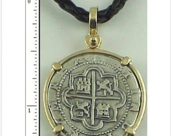 Spanish Coin Replica 2 Reale Cob Piece Of Eight Atocha 1622 Shipwreck Pendant