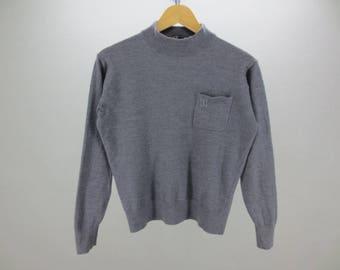 Daks London Sweater Vintage Daks London Activewear Gray Embroidery Turtleneck Pullover Women's Size L