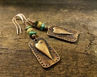 Copper Earrings, Boho Earrings, Heart Earrings, Dangle Earrings, Drop Earrings, Funky Earrings, Metal Earrings