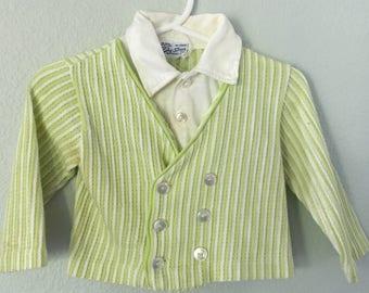 Vintage Baby Boy top, Doe-Spun cardigan, 2 in one shirt, 70s shirt, 18 months kids clothes, retro baby