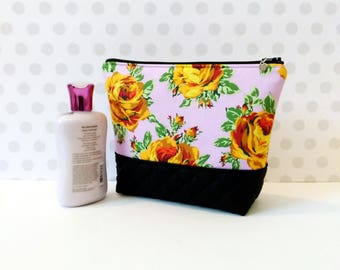 Yellow Rose in Purple Large Makeup Pouch