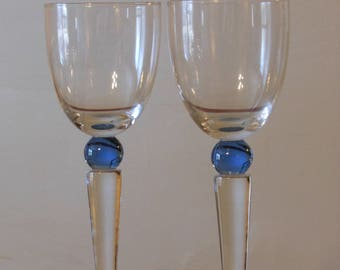 Tall, Blue-Beaded Glass, Long Tapered Stem Cocktail Glasses
