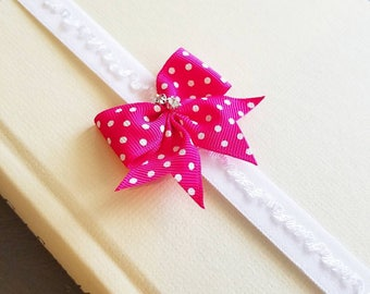 Pink and White Polka Ruffle Elastic Band or Planner Band