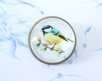 Tit bird pin, bird brooch, bird button