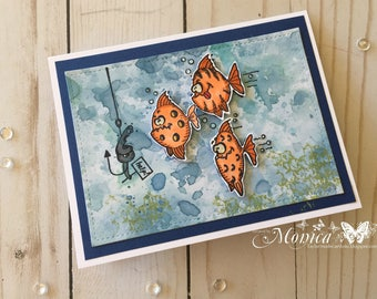 Set of 4 Fish Note Card Set Card, Hand colored card, Tropical Fish Card, Humorous card