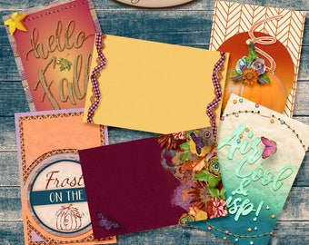 Digital Scrapbook, 4x6 Journaling Cards: Autumn Joys