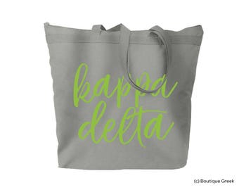 KD Kappa Delta Handlettered Script Large Zipped Top Tote