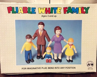 1970s Pliable White Family Bendable Dolls IOB by Marvel, Rubber Family Figurines, Family Rubber Figures, Bendable Figurines, Stretch Dolls