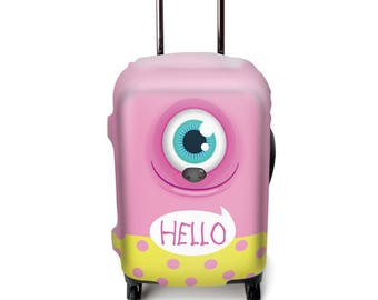 Luckiplus Hello Luggage Cover Spandex Suitcase Cover Fits 18-32 Inch Luggage