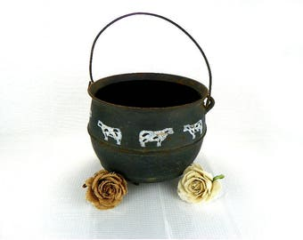 Old Footed Cast Iron Cauldron with Handle Rustic Home Decor