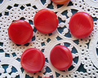 Vintage Glass Buttons, Orange Striped Buttons, Orange Glass Buttons, Art Glass Buttons, Glass Buttons
