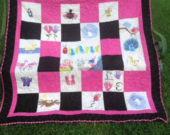 Custom Handprint and Footprint Memory Quilt / Child Handprint and Footprint Quilt
