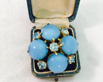 Vintage Gold Toned Blue Rhinestone Brooch