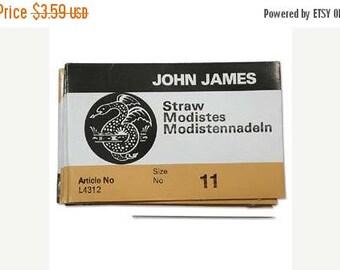 Summer Sale John James Straw Needles, Size 11 Needles Qty 25 English Beading Needles 11/0, Milliners Needles, Bulk Pack Sewing Needles